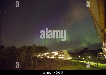 Bergen, Norway. 7th April, 2016. EUweather:  Extreme Northern Light activity over Bergen, Western Norway. 7th April, - Stock Image