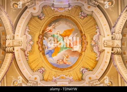 MENAGGIO, ITALY - MAY 8, 2015: The neobaroque fresco of Assumption of Virgin Mary in church Chiesa di Santa Marta. - Stock Image
