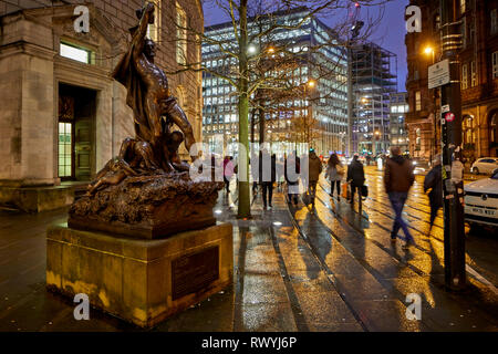 John Cassidy's Adrift statue outside Manchester Central Library, 'Humanity Adrift on the Sea of Life', a bronze sculpture once house in Piccadilly Gar - Stock Image