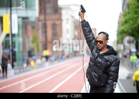 Felix Sanchez as a guest starter for the Manchester Great City Games 2010. - Stock Image
