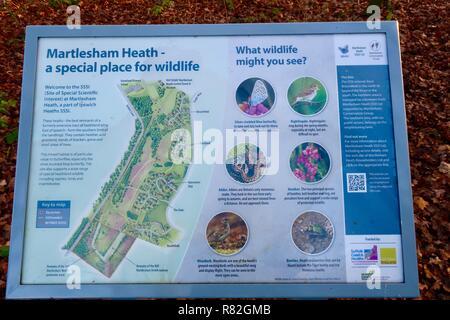 Wildlife information and map at the edge of Martlesham Heath, Suffolk, UK, December 2018. - Stock Image