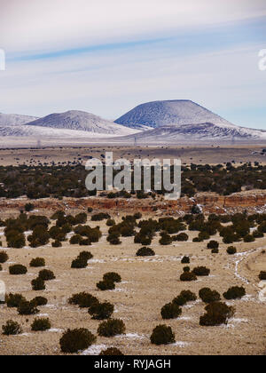Volcanic landscape west of Wupatki National Monument viewed from Citadel Ruin. SP Crater at right. - Stock Image