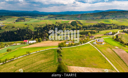 Countryside and rolling hills on rural Lesser Poland Voideship. - Stock Image