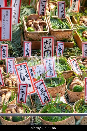 Matsutake Mushrooms, pine mushroom, Tricholoma matsutake at Toriichi Shinise specialty shop on Teramachi Street Kyoto - Stock Image