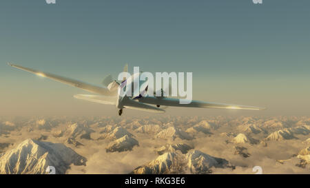 Airplane above the high mountains. Clear blue sky. 3D render illustration. - Stock Image