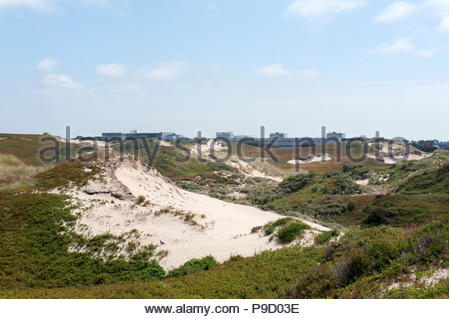 Noordwijk The Netherlands Dunes to the South of the town with the buildings of the ESA European Space Agency. - Stock Image