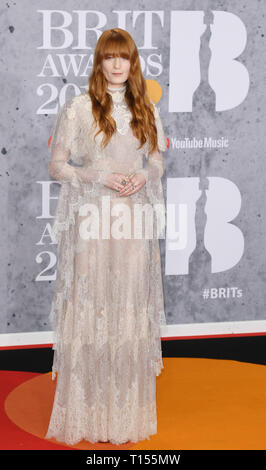 The Brit Awards 2019 held at the O2 - Arrivals  Featuring: Florence Welch Where: London, United Kingdom When: 20 Feb 2019 Credit: WENN.com - Stock Image