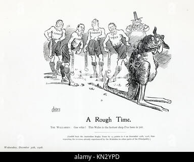 A Rough Time, 1908 cartoon by JM Staniforth on the First Wallaby Australian rugby touring side and their defeats - Stock Image