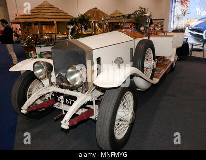 Three-quarter front view of a 1924  Rolls Royce 40/50hp Silver Ghost Boat Tail, on display at the 2018 London Classic Car Show - Stock Image