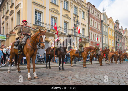 Poland cavalry, a squad of Polish Cavalry on parade in Poznan Market Square during the 3 May Constitution Day celebrations, Poland. - Stock Image