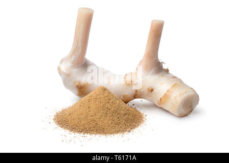 Fresh raw galangal rhizome and a heap of dried ground powder isolated on white background - Stock Image