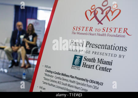 Miami Florida James L. Knight Center centre Women's Heart Health Fair Sister to Sister Foundation heart disease health preventio - Stock Image