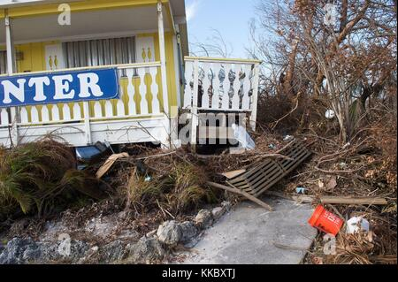 Debris surrounds the damaged Big Pine Key Welcome Center in the aftermath of Hurricane Irma September 17, 2017 in - Stock Image