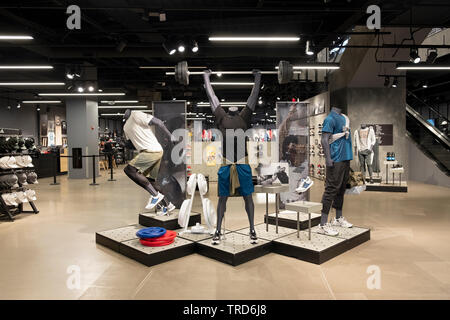 The entrance area of the Adidas Store on Broadway in Greenwich Village, New York City. - Stock Image