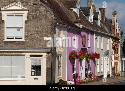 Colourful Period  East Anglian Cottages in Barsham Street Bungay, Suffolk, England, UK - Stock Image