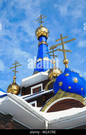Orthodox crosses on domes of the Church - Stock Image