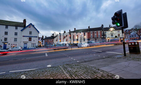 Ashourne, Derbyshire, UK. 31st December, 2017. Ashbourne Derbyshire 2017 property boom, sunset on the last day of - Stock Image