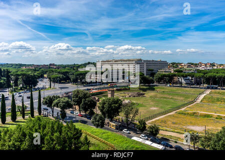 Rome, Italy - 24 June 2018: The ancient ruins of Circus Maximus in the valley between the Aventine and Palatine Hills, Roman Forum in Rome - Stock Image