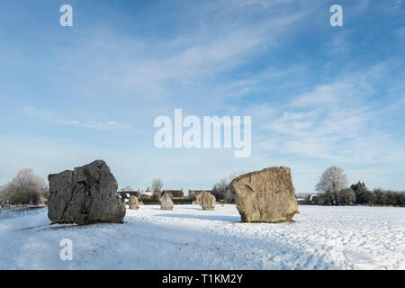 Avebury Standing Stones After a Heavy Fall of Snow - Stock Image