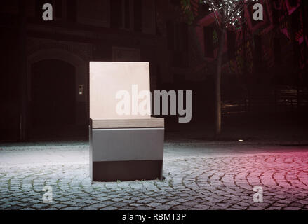 illuminated bench at night, Como, Italy - Stock Image