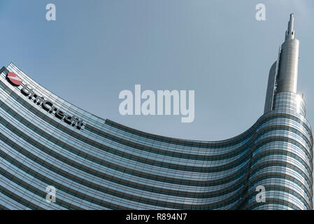 Horizontal abstract view of the UniCredit Tower in Milan, Italy. - Stock Image