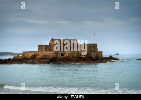 National Fort, Historical monument built by Vauban in 1689, Sain Malo, Brittany, France, Europe. - Stock Image