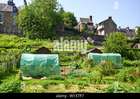 Allotments below the old town of Fougères in Brittany, France - Stock Image