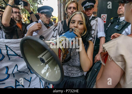 London, UK. 3rd July 2018. Protester continues to lead the protest after police have managed to pull her away. The protest called on the Council Planning Committee to reject the plans by tax avoiding property giant Delancey and University of the Arts London to demolish the Elephant & Castle Shopping Centre  and replace it with luxury housing and a new building for the London College of Communication. Credit: Peter Marshall/Alamy Live News - Stock Image