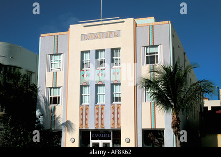 Miami Florida FL South Beach Art Deco Architecture Cavalier Hotel Front - Stock Image