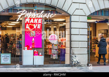 LEEDS, UK - 29 January 2019.  Paperchase shop front and sign outside Paperchase card shop in Leeds. - Stock Image
