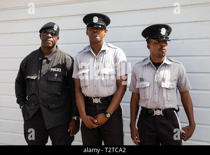 Three police officers in Saint John's, Capital of Antigua and Barbuda - Stock Image