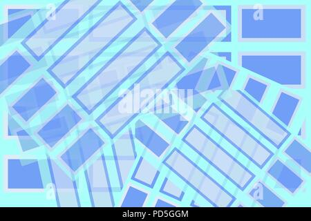 Rectangle shapes of blue blended to look like a background of postcards or stickers - Stock Image