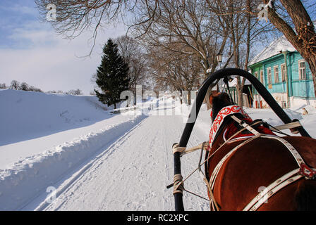 Clydesdale horses Drawn Sleigh Rides in winter - Stock Image