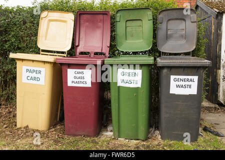 Domestic waste and recycling bins  for paper and card,  cans,  plastic and bottles, food and garden waste, and  - Stock Image