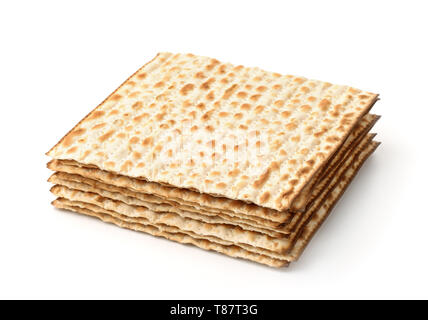 Stack of matzo flatbread isolated on white - Stock Image
