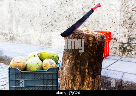 Machete used to chop coconuts for drinks, machete knife, machete, weapon, knife, machete in block of wood - Stock Image