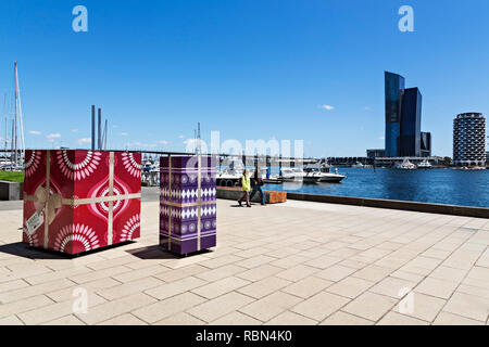 Victoria Harbour is home to many luxury apartments and the D`Albora Marina in Melbourne Docklands,Victoria Australia.The D`Albora Group have many luxu - Stock Image