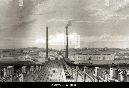 Camden Town engine works and stationary engine chimneys, built on the London and Birmingham Railway, etching, Thomas Roscoe, 1839 - Stock Image