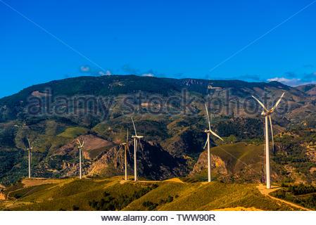 Wind turbines near Lanjaron, Alpujarra, Granada Province, Andalusia, Spain. - Stock Image