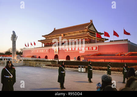 Chinese guard army prepares for the lowering flag ceremony in front of Tiananmen, Beijing - Stock Image