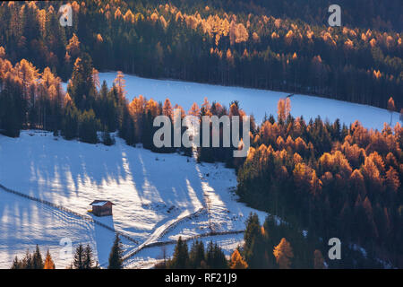 lonely house in forest in surround f St. Maddalena village, Dolomites, Italy - Stock Image