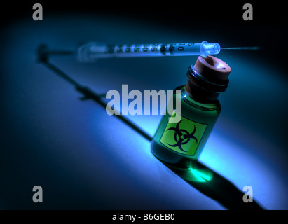 Small bottle with biohazard symbol - Stock Image