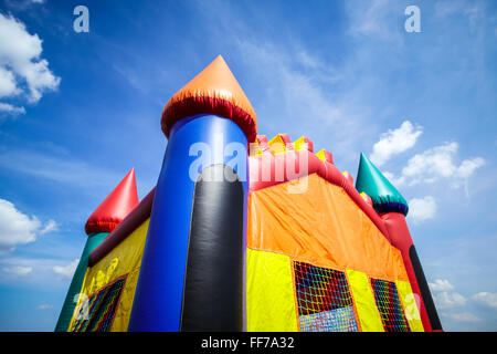 Children's inflatable jumpy house castle top half. - Stock Image