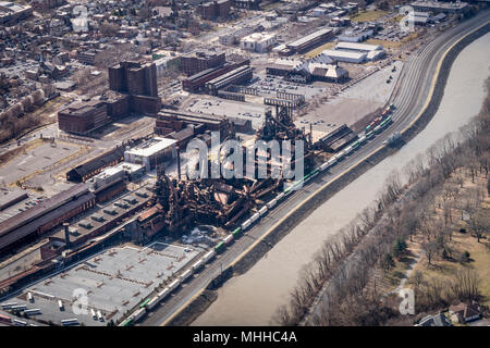 Aerial View Of Bethlehem Steel Factory - Stock Image