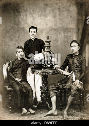Family, Cambodia, 1875, by Emile Gsell - Stock Image