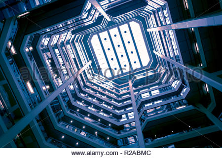 Skylight of an atrium looking upwards in Atrium on Bay in Toronto Ontario Canada - Stock Image
