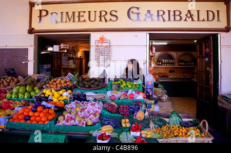 France, French Riviera, Nice; A fruit and vegetable shop in the Place Garibaldi - Stock Image