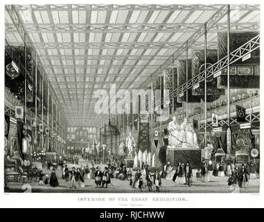 Interior of The Great Exhibition, showing the British department. - Stock Image