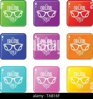 Original style icons set 9 color collection - Stock Image