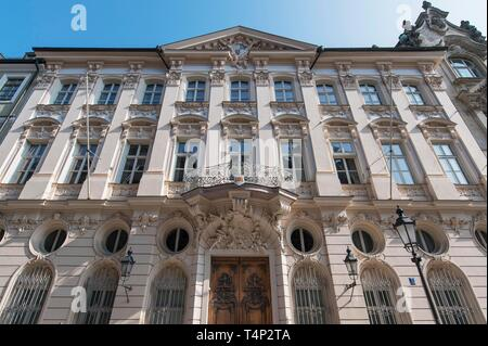 Archbishop's palace, rococo master builder Francois Cuvilles, built 1733 to 1737, Munich, Upper Bavaria, Bavaria, Germany - Stock Image